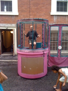 Jed Griswold, Minister of Education, in the dunk tank